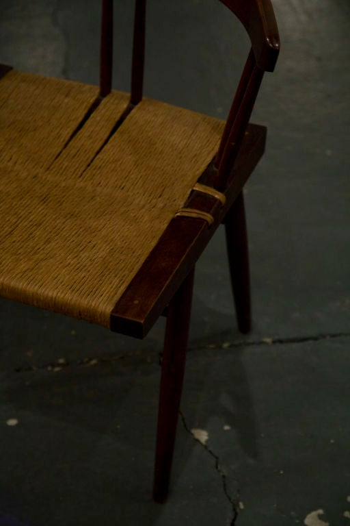 Mid-Century Modern Set of Four Grass Seated Dining Chairs by George Nakashima For Sale