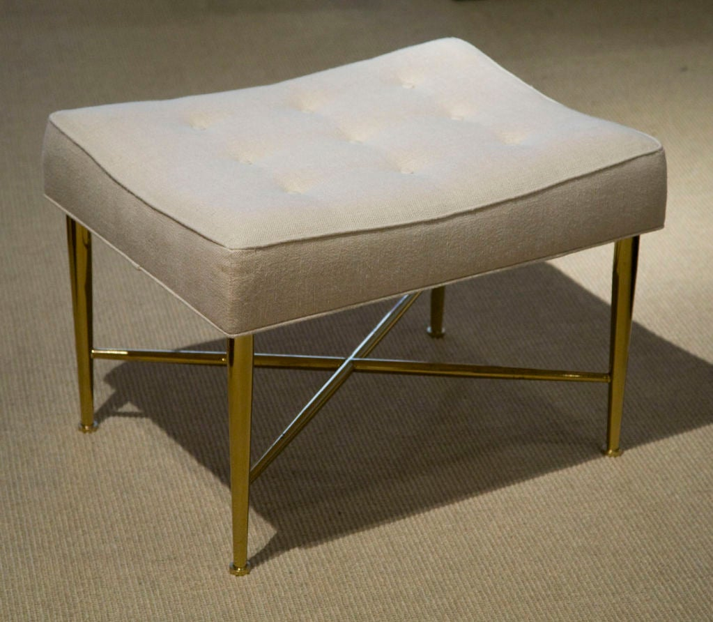 Upholstered Brass X Base Bench By Edward Wormley At 1stdibs