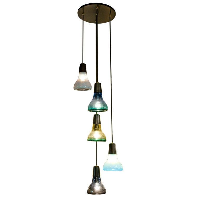 descending six light murano glass pendant light by vistosi