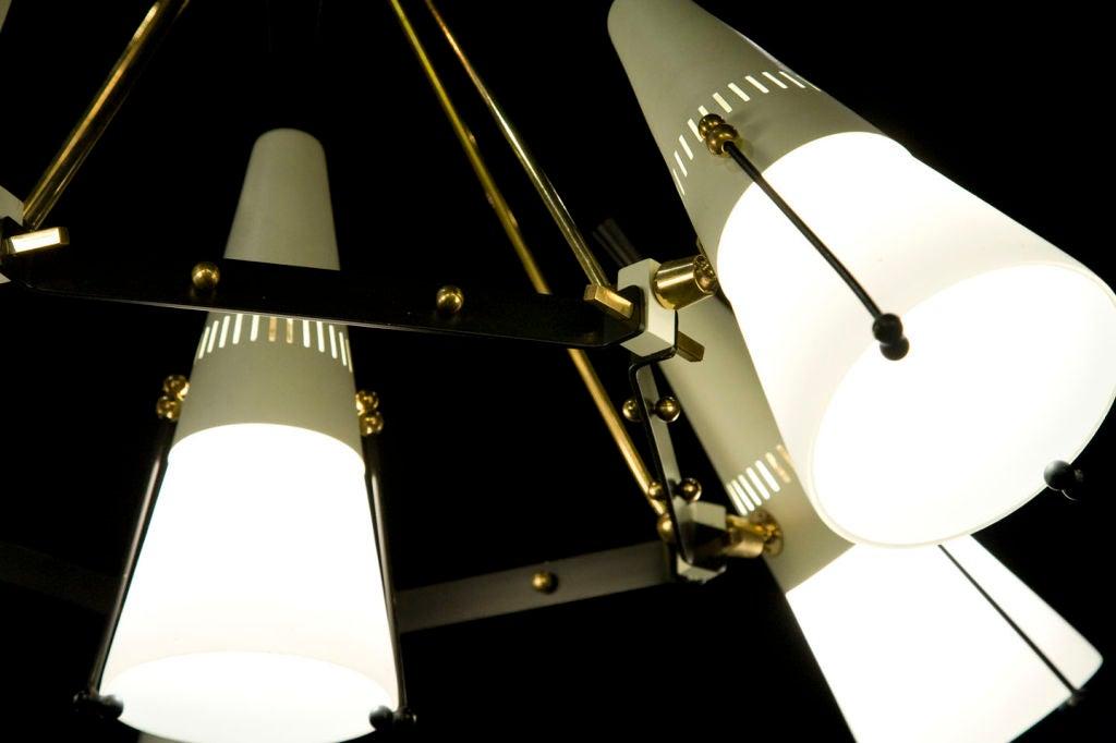 Italian 6 Light Brass And Case Glass Adjustable Chandelier