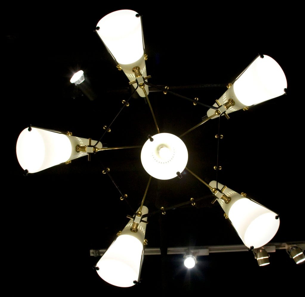 Italian 6 Light Brass And Case Glass Adjustable Chandelier