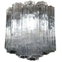 Penta Foil Glass Tube Pendant Chandelier by Venini