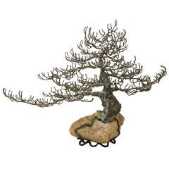 Lone Tree Bonsai Bronze and Geode Sculpture by Curtis Jere