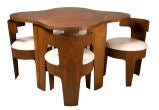 Molded Plywood Cloud Table and Barrel Chair Set