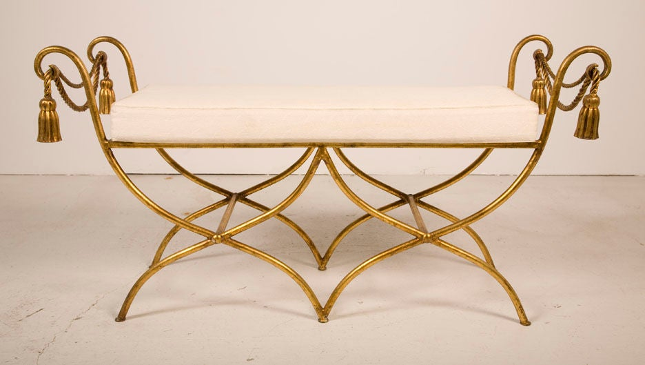 Glamourous Italian Gilt Iron Rope and Tassel Boudoir Bench 2