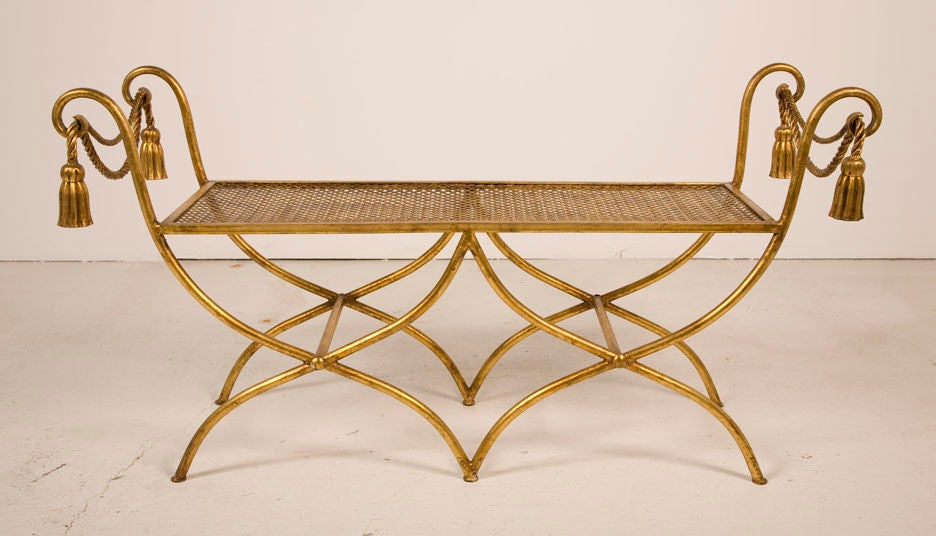 Glamourous Italian Gilt Iron Rope and Tassel Boudoir Bench 3