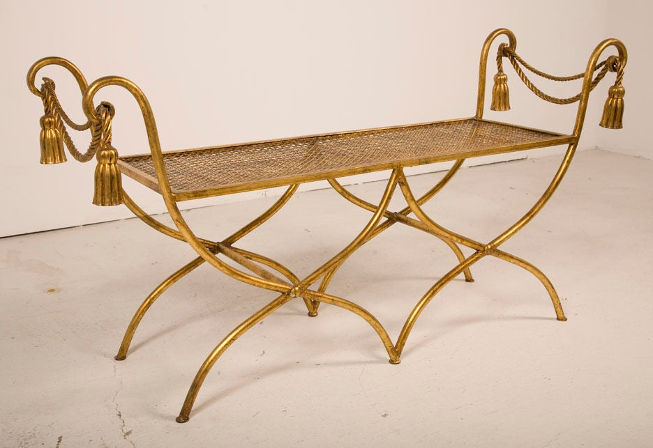 Glamourous Italian Gilt Iron Rope and Tassel Boudoir Bench 4
