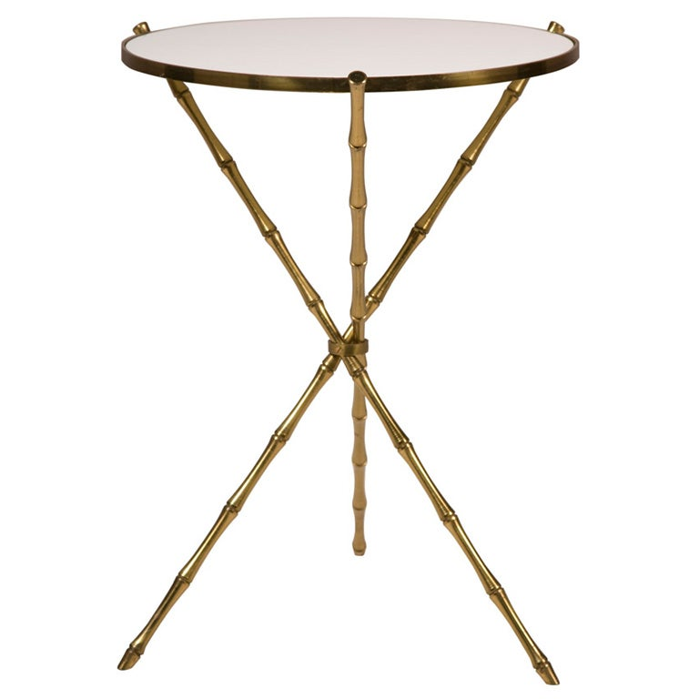 Vintage Brass Faux Bamboo Tripod Table After Bagues 1