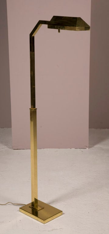 Polished brass adjustable floor reading lamp by chapman at for Floor lamp with dual reading lights