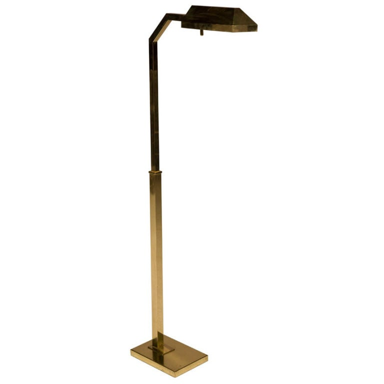 Polished brass adjustable floor reading lamp by chapman for sale at 1stdibs - Floor lamps for reading contemporary ...