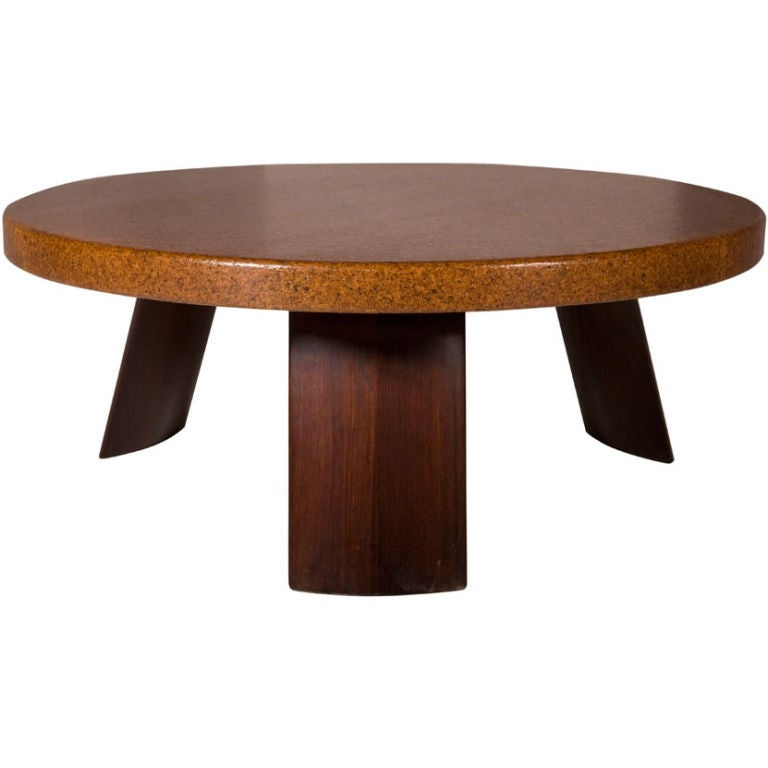 Round Cork Top Cocktail Table By Paul Frankl 1