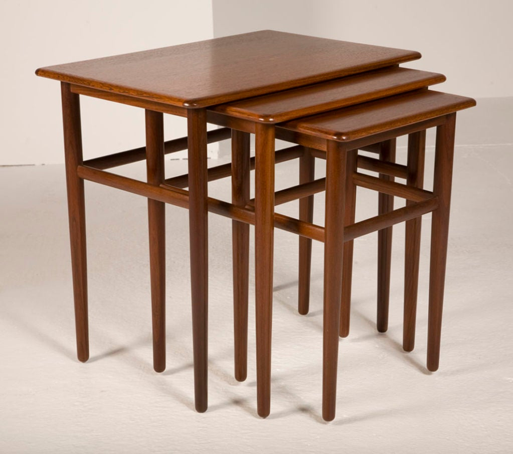 Teak Nesting Tables ~ Danish teak nesting tables for sale at stdibs
