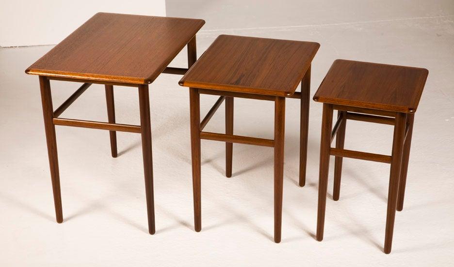 Danish Teak Nesting Tables For Sale 1