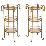 Pair of Gilt Iron Rope and Tassel Salle de Bain Circular Stands