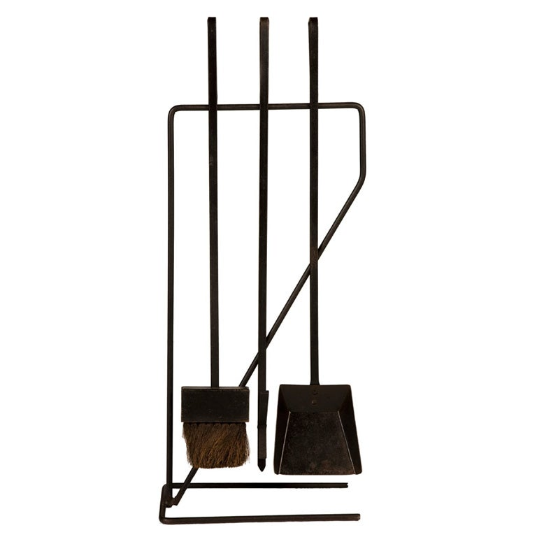 Modernist Wrought Iron Fireplace Tool Set After George Nelson For