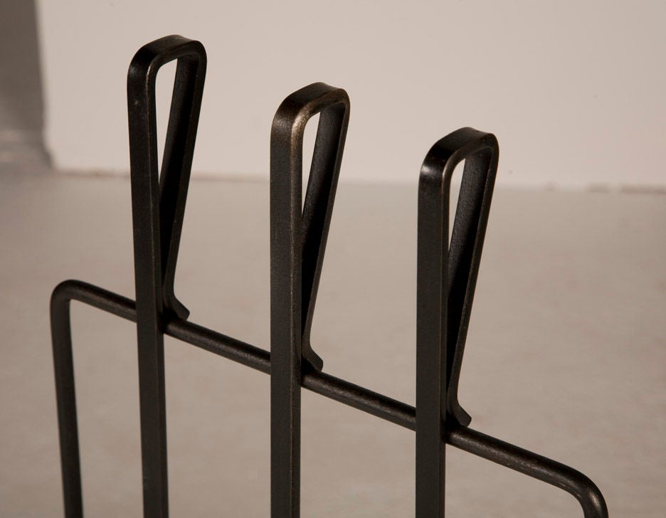 Fireplace Design wrought iron fireplace tools : Modernist Wrought Iron Fireplace Tool Set After George Nelson For ...
