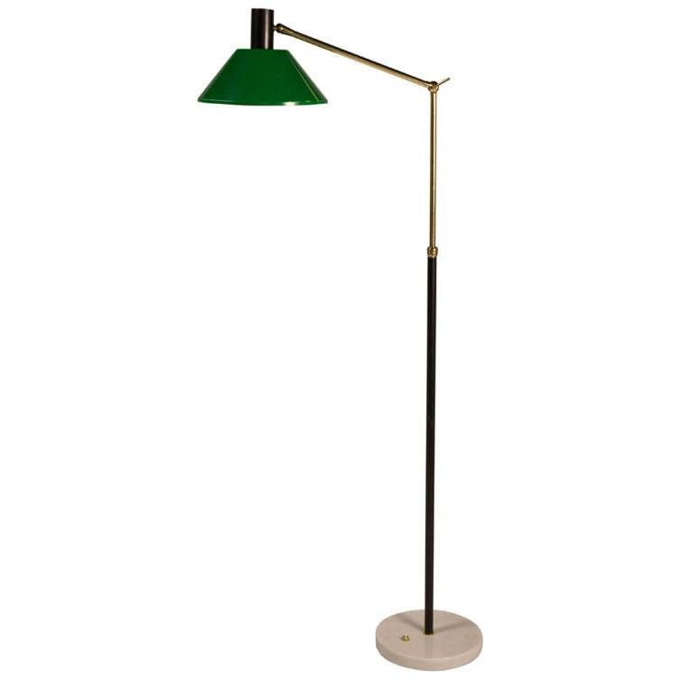 kelly green adjustable arm floor lamp by stilnovo at 1stdibs. Black Bedroom Furniture Sets. Home Design Ideas