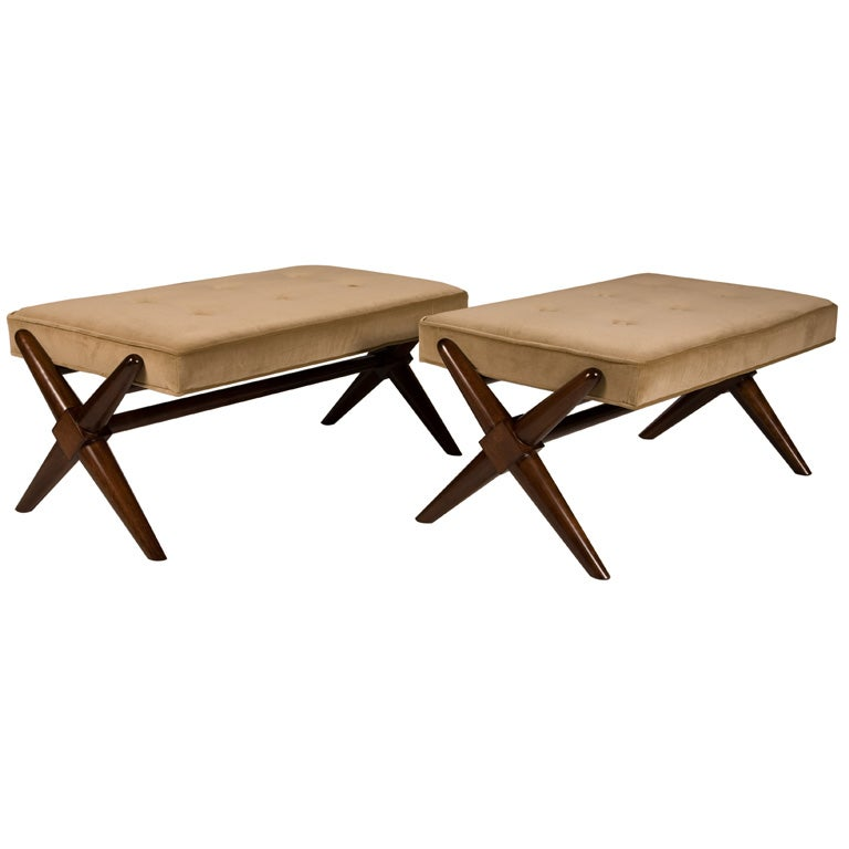 Pair of Trestle Base Benches by T.H. Robsjohn-Gibbings