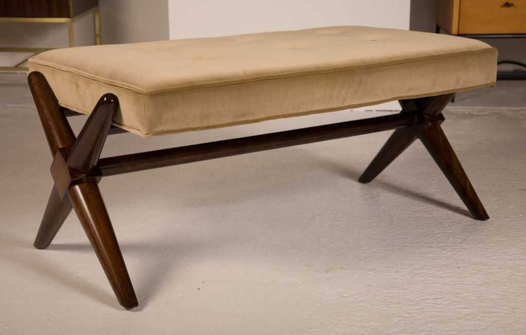 Pair of Trestle Base Benches by T.H. Robsjohn-Gibbings In Excellent Condition For Sale In New York, NY