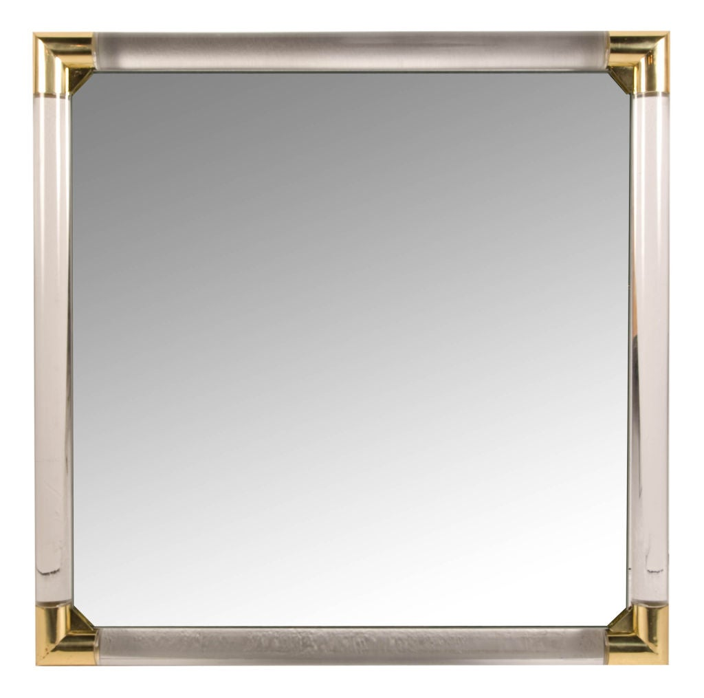 Square lucite rod frame vanity mirror at 1stdibs for Square mirror