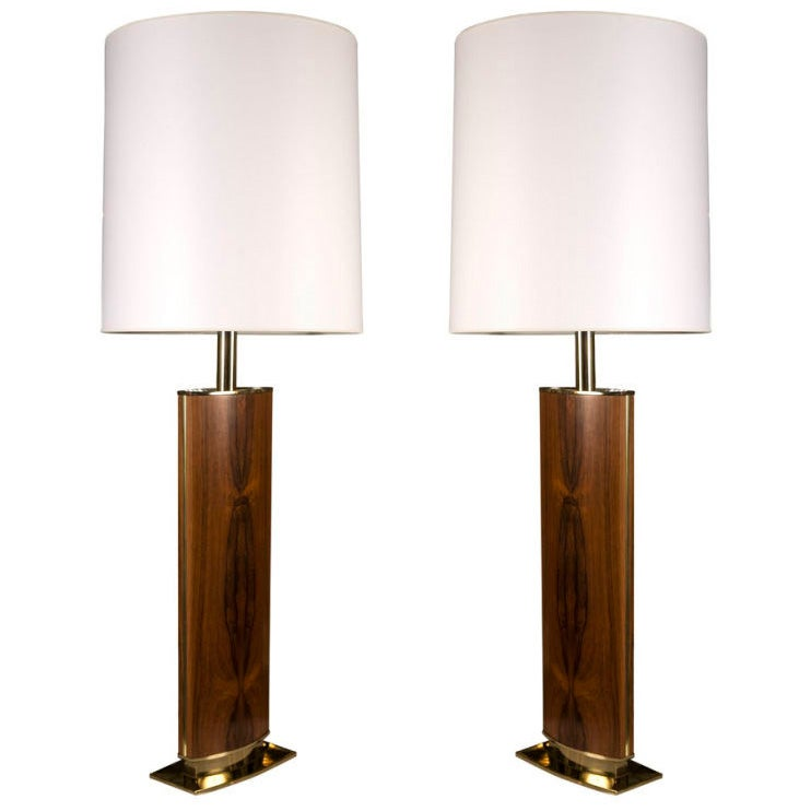 Pair Of Tall And Slender Rosewood Column Table Lamps By
