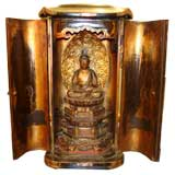 Fine Japanese Gilt Wood Statue Of Sitting Buddha In Wood Case