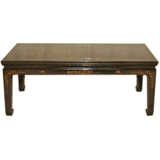 Black Lacquer Low Table With Painted Gold Gilt Floral Motif At 1stdibs
