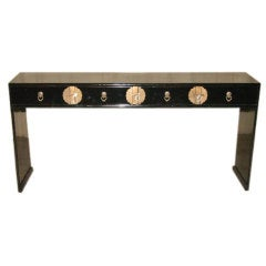 Black Lacquer Console Table With Four Drawers & Brass Fitting