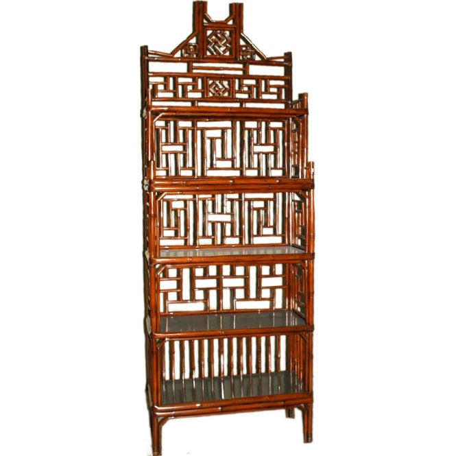 A Fine Bamboo Display / Book Case With Black Lacquer Shelves