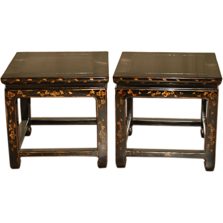 A Pair Of Black Lacquer Stools With Gold Gilt Motif At 1stdibs