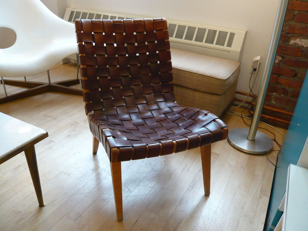 this jens risom leather webbed lounge chair for knoll ca 1950 is no