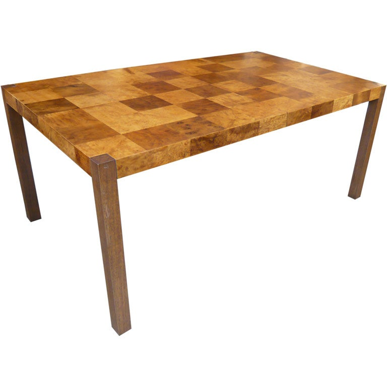 ... John Widdicomb Olive patchwork Burl parsons dining table at 1stdibs
