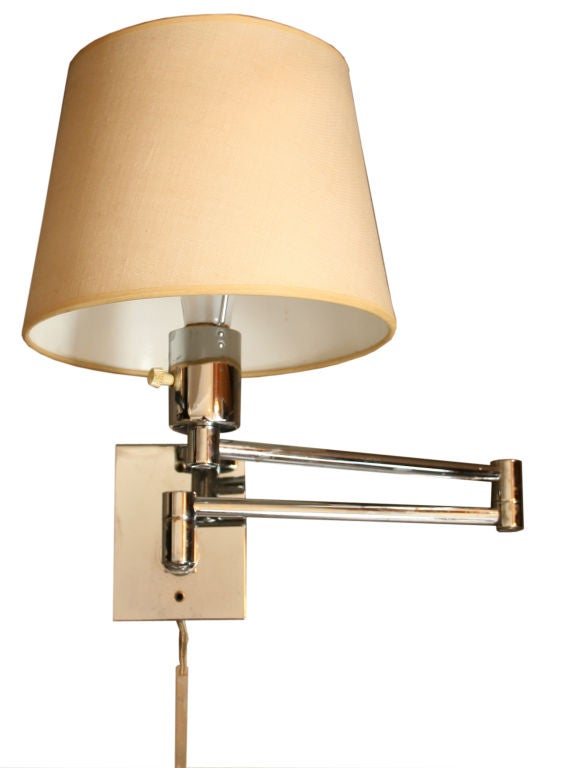 Pair Of Hansen Wall Mounted Swing Arm Lamps At 1stdibs