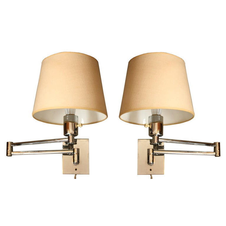 Pair of hansen wall mounted swing arm lamps at 1stdibs Beautiful swing arm wall lamps and sconces