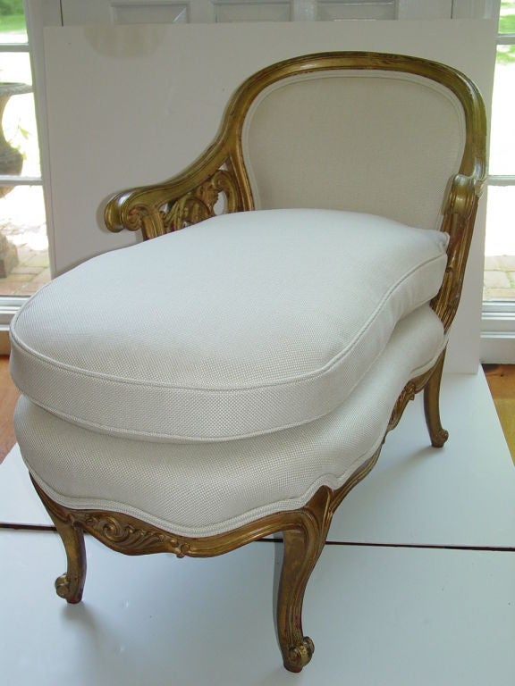 Lovely diminutive 19th century french gilt chaise lounge for 19th century chaise lounge