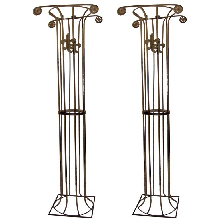 Monumental Pair Of Large Scale Iron Columns Plant Stands