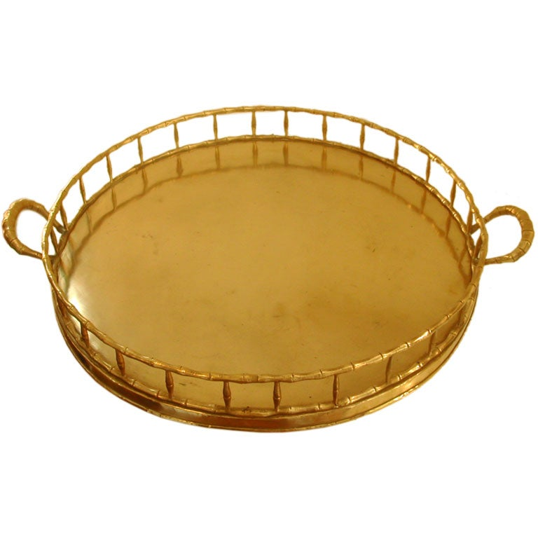 Large Round Ottoman : Great for big Ottoman-Large Round Brass Gallery Tray at 1stdibs
