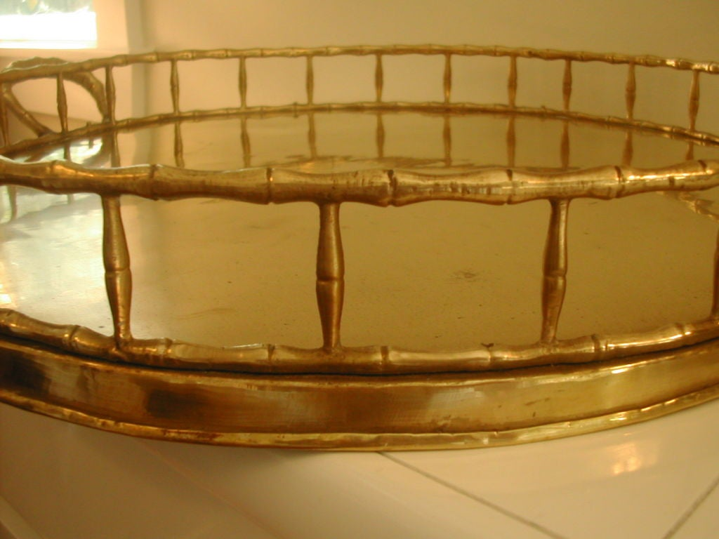 Great For Big Ottoman Large Round Brass Gallery Tray At