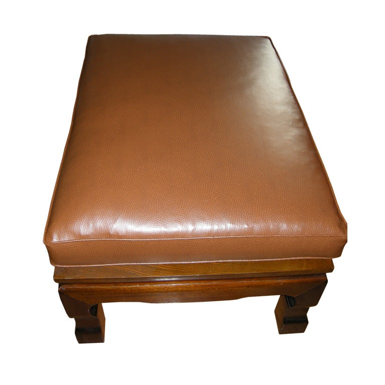 Handsome Large Ostrich Skin Ottoman At 1stdibs