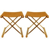 Pair  1970s Chrome and Brass X Shaped Stools.