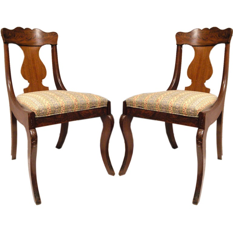 Wonderful Wonderful Pair Of American Empire Chairs 1