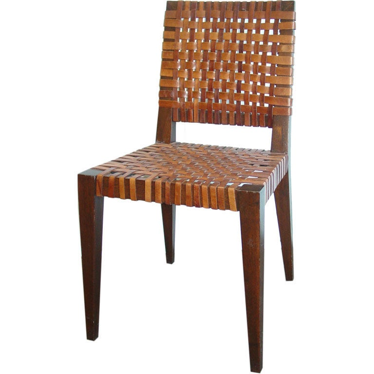 Pair of Mid Century Leather Woven Chairs at 1stdibs