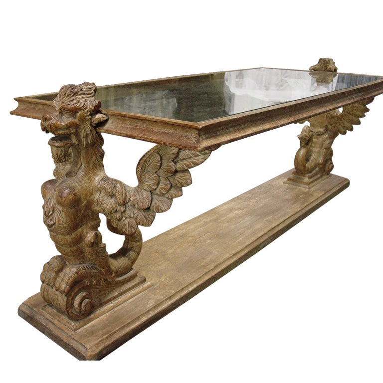 Rare hand carved griffin coffee table at 1stdibs Hand carved coffee table