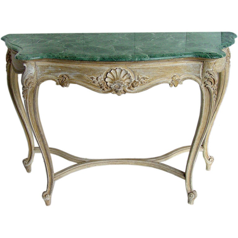 hand carved cerused french console table marble top at