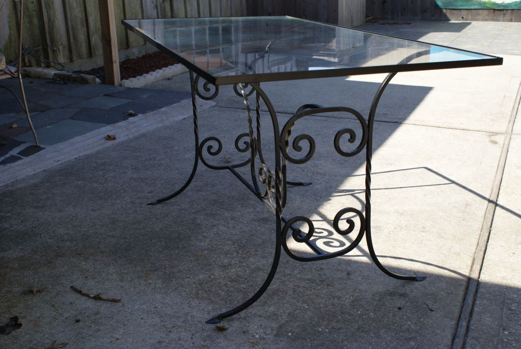 Vintage Woodard Wrought Iron And Glass Table At 1stdibs