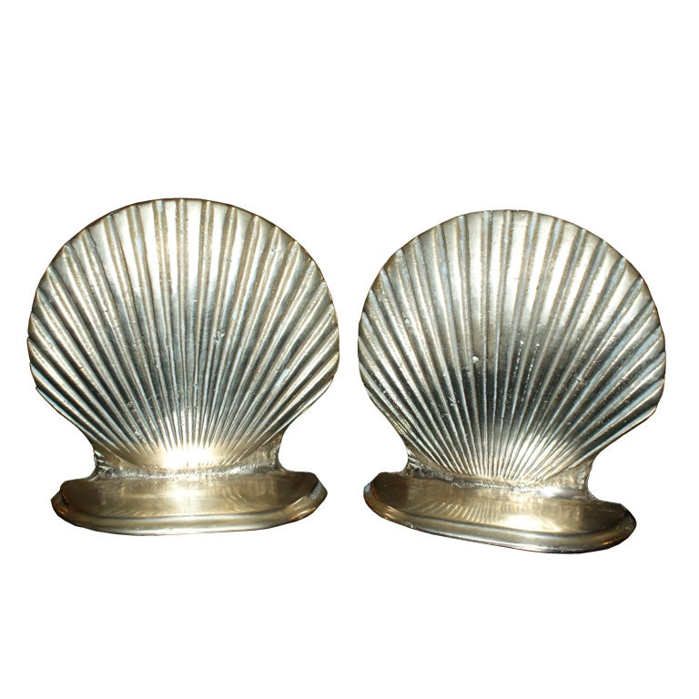Pair antique shell form brass bookends at 1stdibs - Antique brass bookends ...