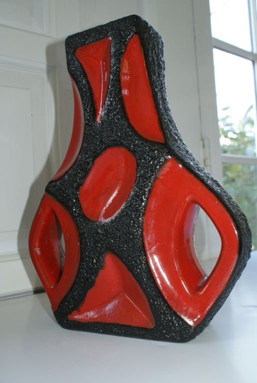 A Terrific Abstract Form Mid Century Ceramic Vase image 2