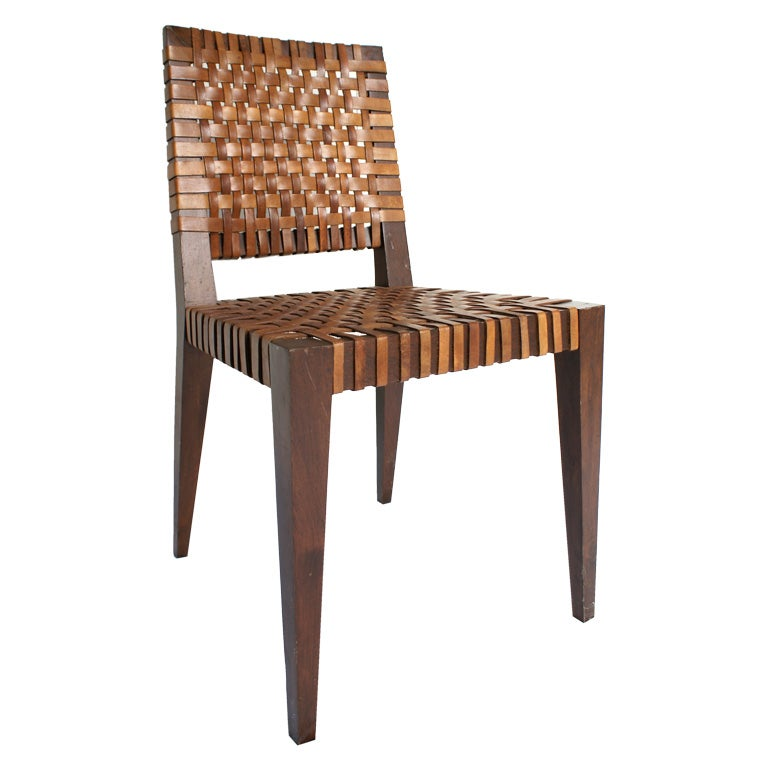 Mid Century Leather Woven Chair At 1stdibs