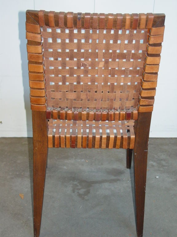 Mid  Century Leather Woven Chair.