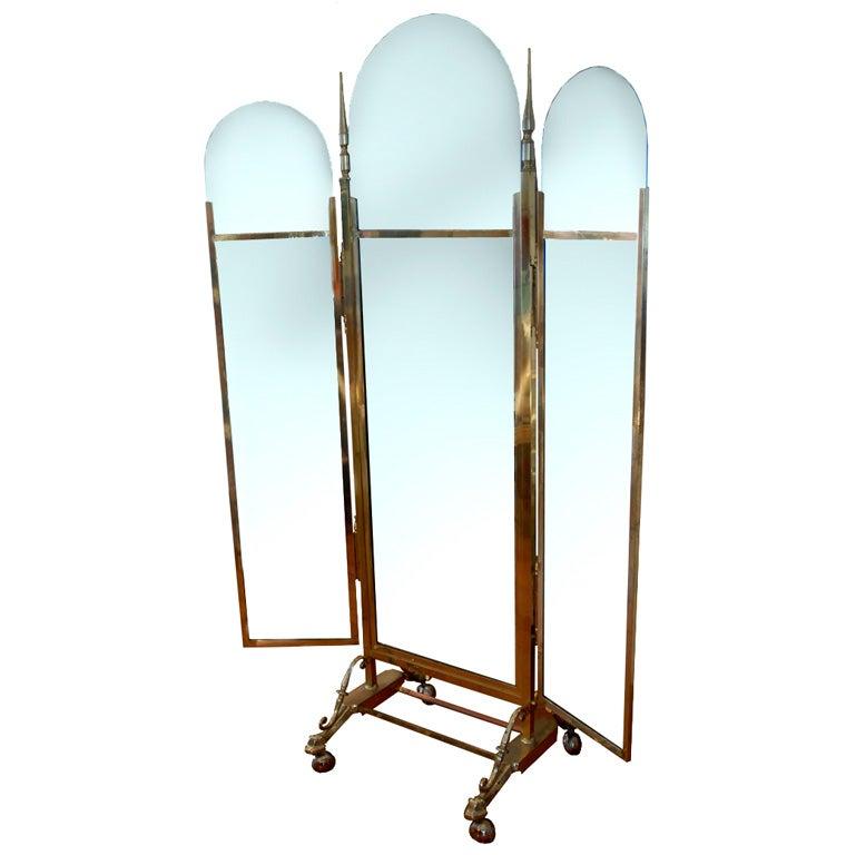 Floor standing mirror on wheels